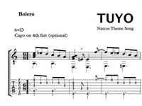 Bild von Tuyo (Narcos Theme Song) Sheet Music & Tabs