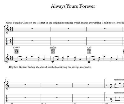 Bild von Always Yours Forever - Sheet Music & Tabs